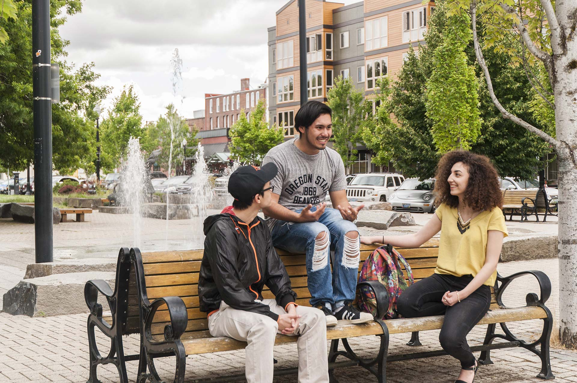 International students downtown enjoying the day at the waterfront park in Corvallis, Oregon